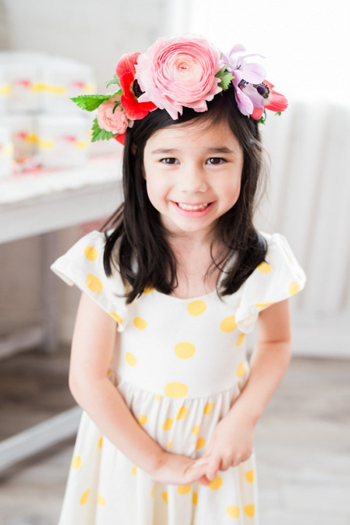 Little Girl wearing her Floral Crown from a Flower Crown Crafting Party via Kara's Party Ideas | KarasPartyIdeas.com (27)