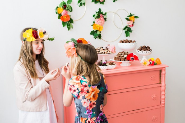 Girls eating sweets at a Flower Crown Crafting Party via Kara's Party Ideas | KarasPartyIdeas.com (25)