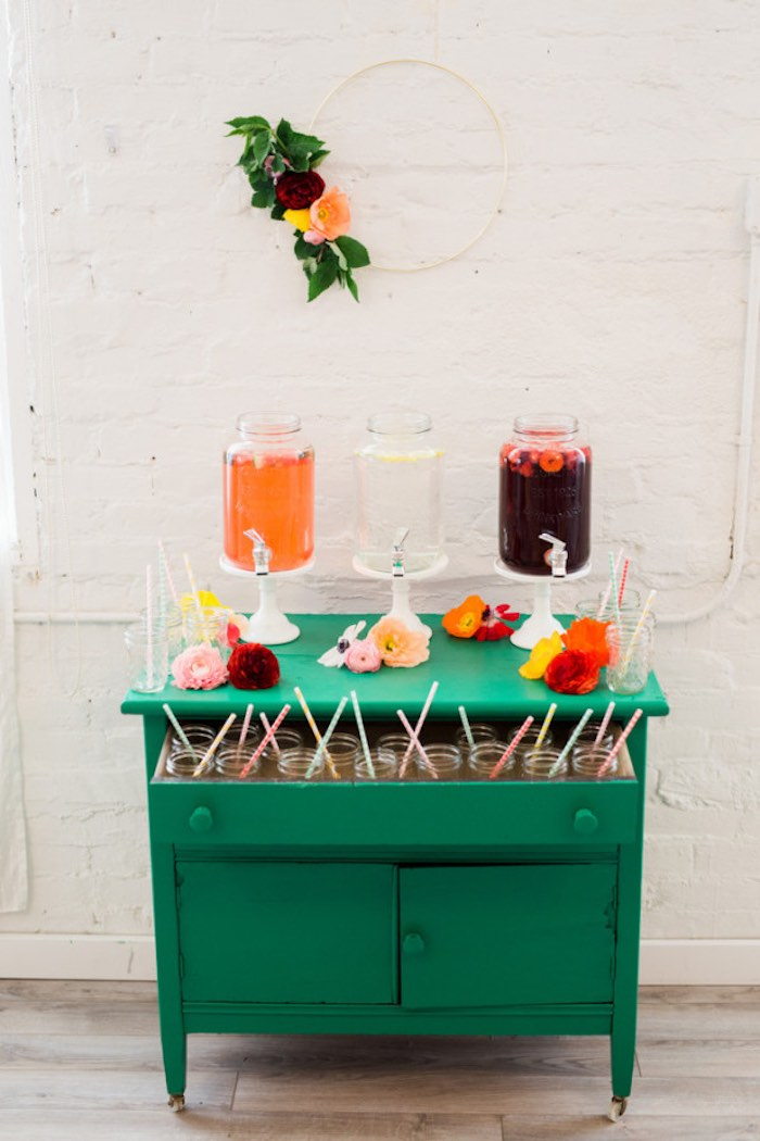 Drink Table from a Flower Crown Crafting Party via Kara's Party Ideas | KarasPartyIdeas.com (68)