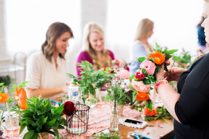 Ladies creating Flower Crowns from a Flower Crown Crafting Party via Kara's Party Ideas | KarasPartyIdeas.com (21)