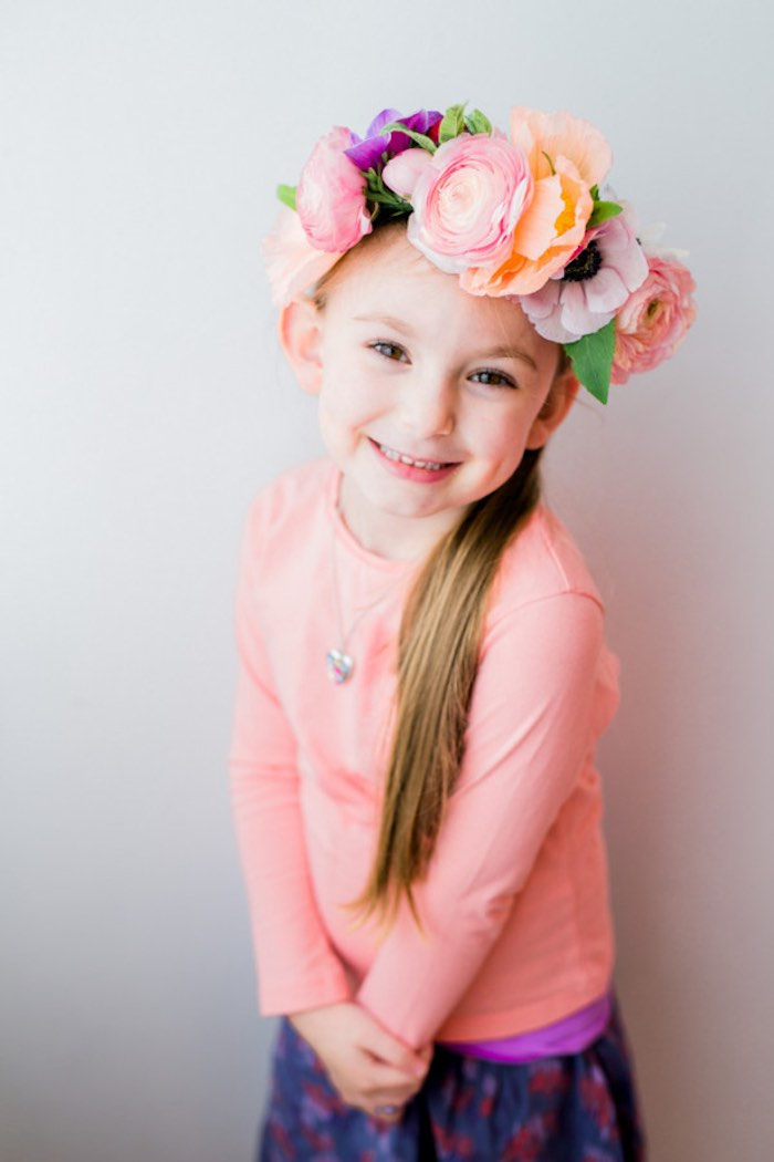 Little Girl from a Flower Crown Crafting Party via Kara's Party Ideas | KarasPartyIdeas.com (20)