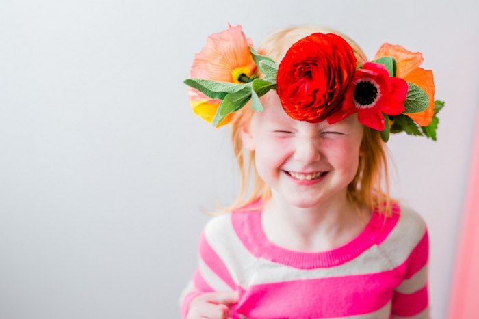 Little Girl from a Flower Crown Crafting Party via Kara's Party Ideas | KarasPartyIdeas.com (19)