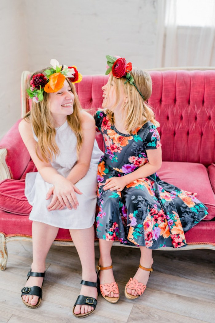Girls from a Flower Crown Crafting Party via Kara's Party Ideas | KarasPartyIdeas.com (11)