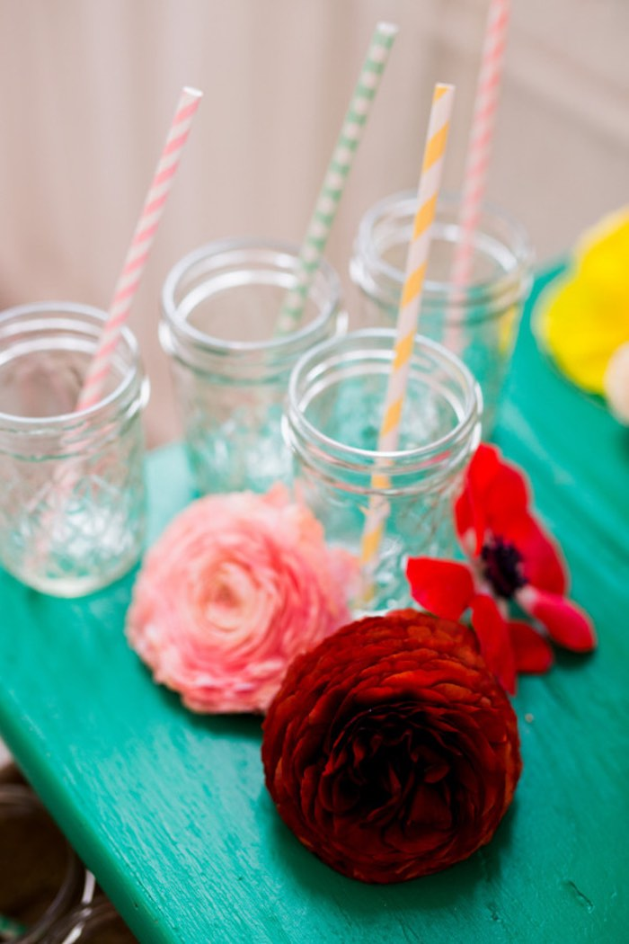 Drink Jars from a Flower Crown Crafting Party via Kara's Party Ideas | KarasPartyIdeas.com (63)