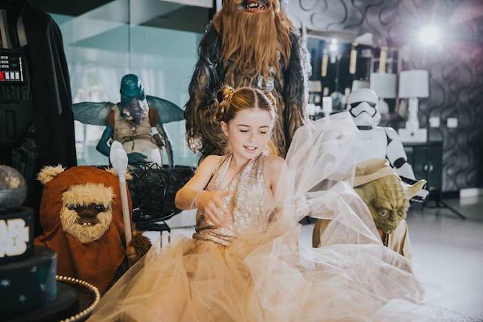 Birthday Girl wearing a Custom Princess Dress at her Galactic Star Wars Themed Birthday Party via Kara's Party Ideas | KarasPartyIdeas.com (26)