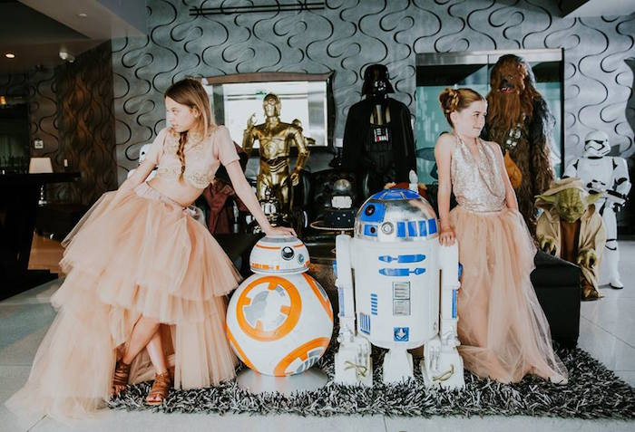 Birthday Girls + Droids from a Galactic Star Wars Themed Birthday Party via Kara's Party Ideas   KarasPartyIdeas.com (18)