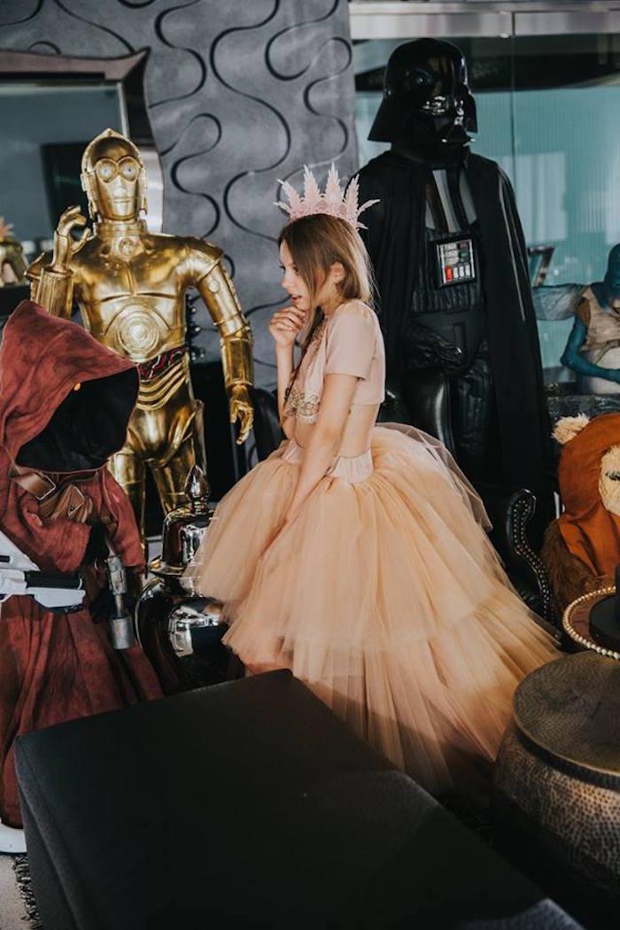 Birthday girl in her custom Lil Jewels princess dress from a Galactic Star Wars Themed Birthday Party via Kara's Party Ideas   KarasPartyIdeas.com (12)