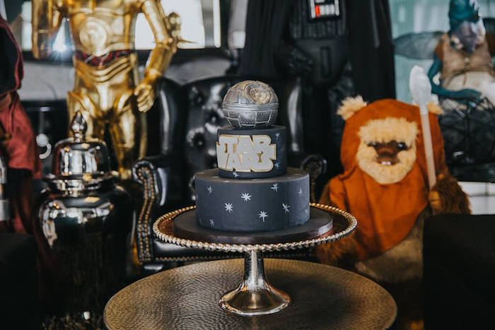 Cake from a Galactic Star Wars Themed Birthday Party via Kara's Party Ideas | KarasPartyIdeas.com (34)