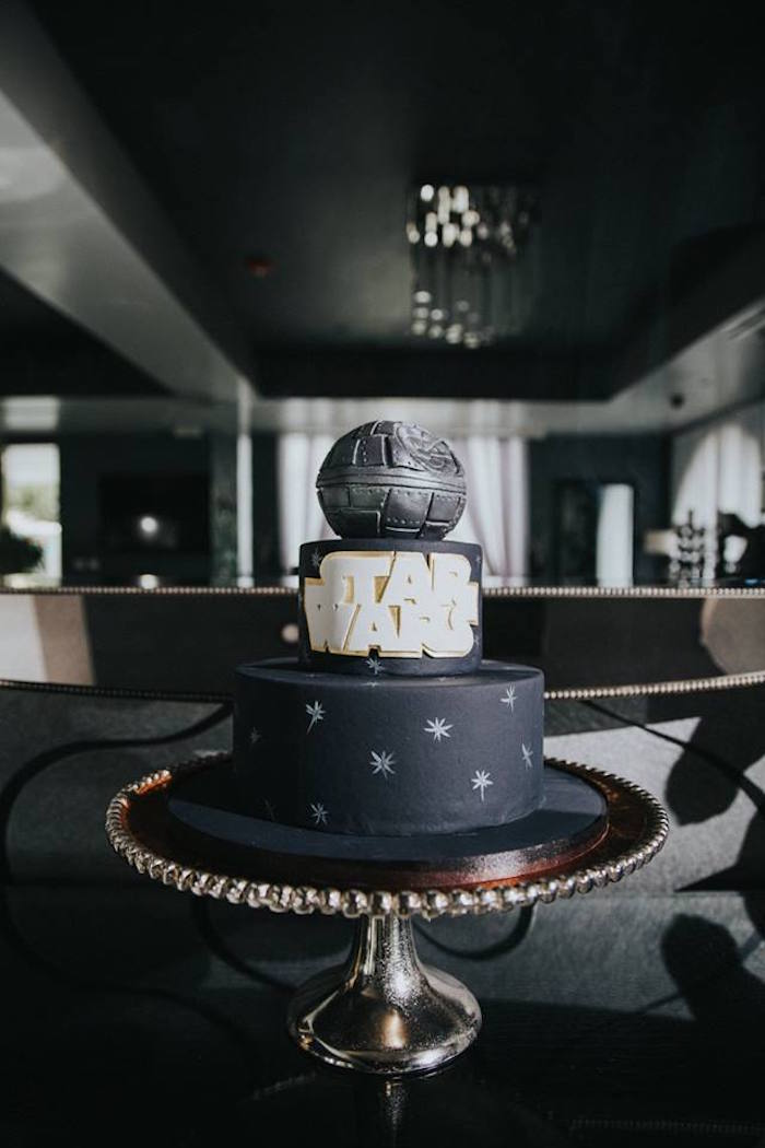 Cake from a Galactic Star Wars Themed Birthday Party via Kara's Party Ideas   KarasPartyIdeas.com (31)