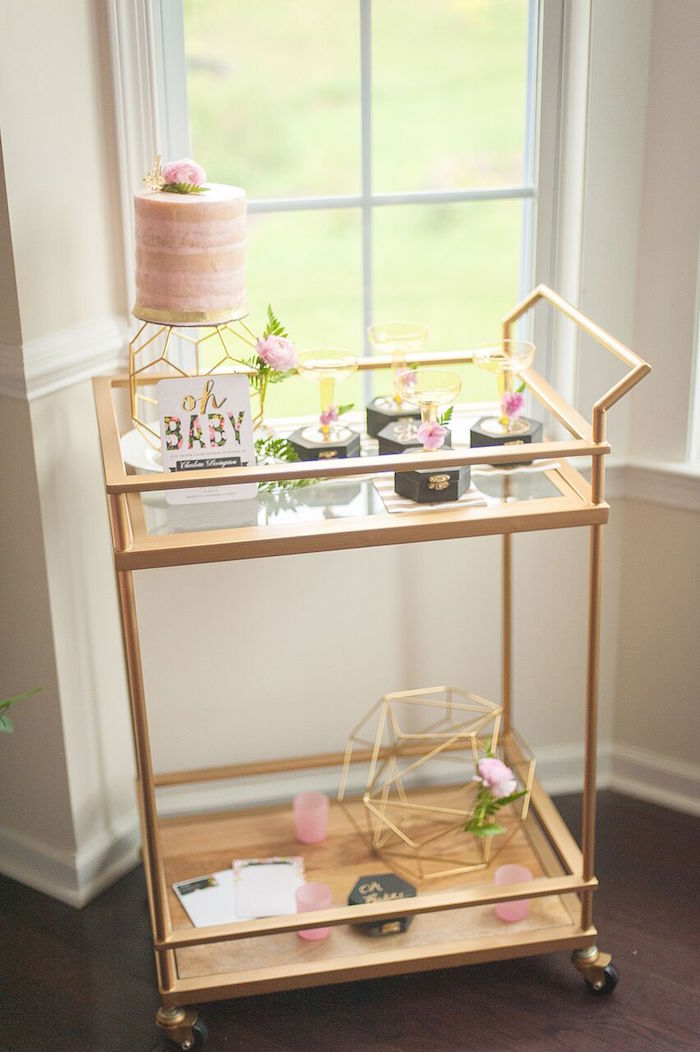 Cake Display Cart from a Geometric Floral Baby Shower via Kara's Party Ideas | KarasPartyIdeas.com - The Place for All Things Party! (32)