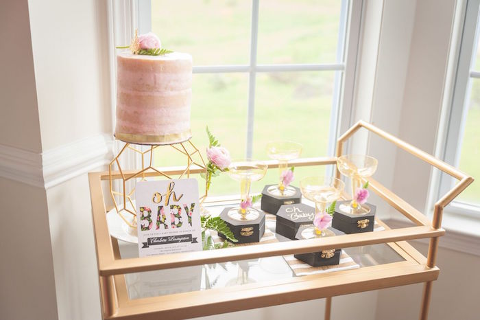 Cake Display Cart from a Geometric Floral Baby Shower via Kara's Party Ideas | KarasPartyIdeas.com - The Place for All Things Party! (28)