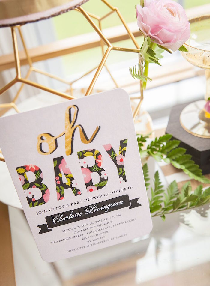Invitation from a Geometric Floral Baby Shower via Kara's Party Ideas | KarasPartyIdeas.com - The Place for All Things Party! (27)