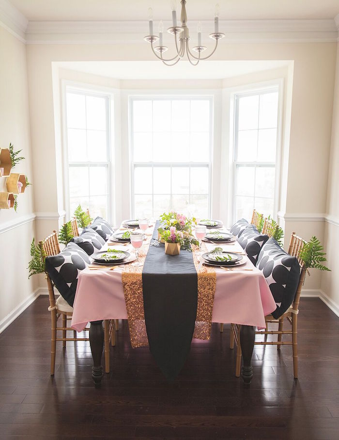 Dining + Guest Table from a Geometric Floral Baby Shower via Kara's Party Ideas | KarasPartyIdeas.com - The Place for All Things Party! (24)