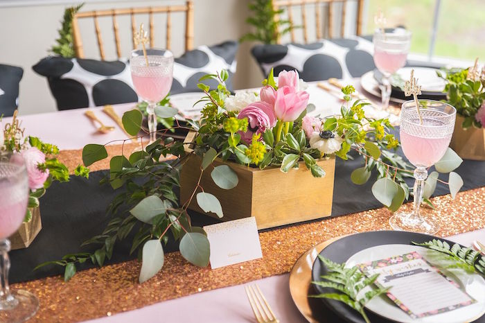 floral centerpiece from a geometric floral baby shower via kara 39 s