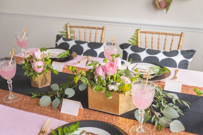 Dining Tabletop from a Geometric Floral Baby Shower via Kara's Party Ideas | KarasPartyIdeas.com - The Place for All Things Party! (20)