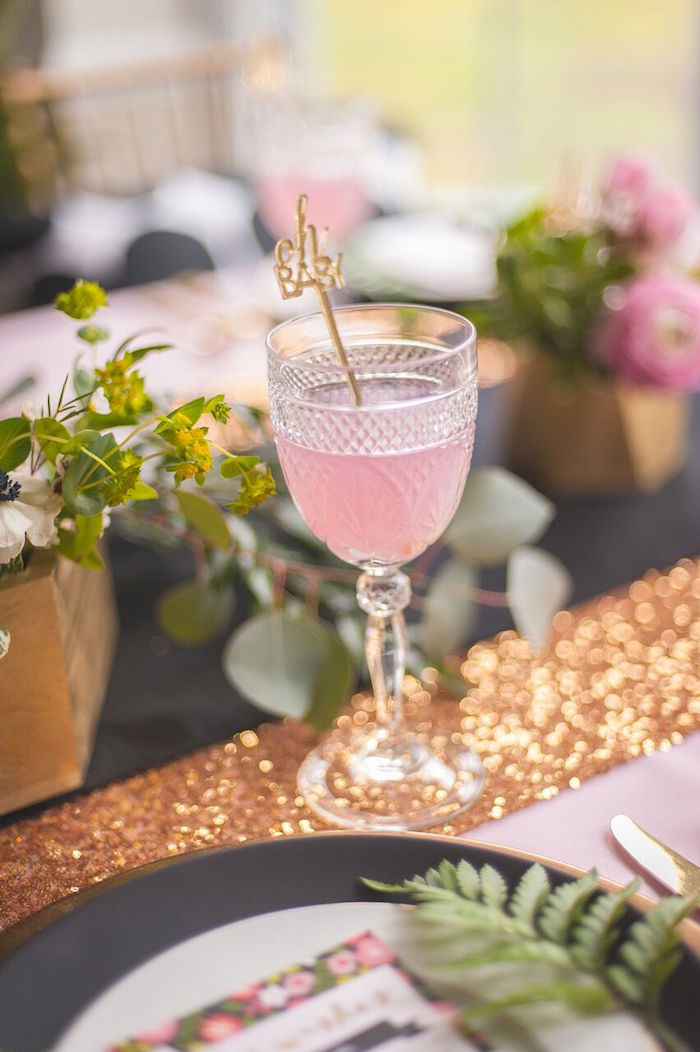 Crystal Goblet filled with Strawberry Lemonade from a Geometric Floral Baby Shower via Kara's Party Ideas | KarasPartyIdeas.com - The Place for All Things Party! (16)