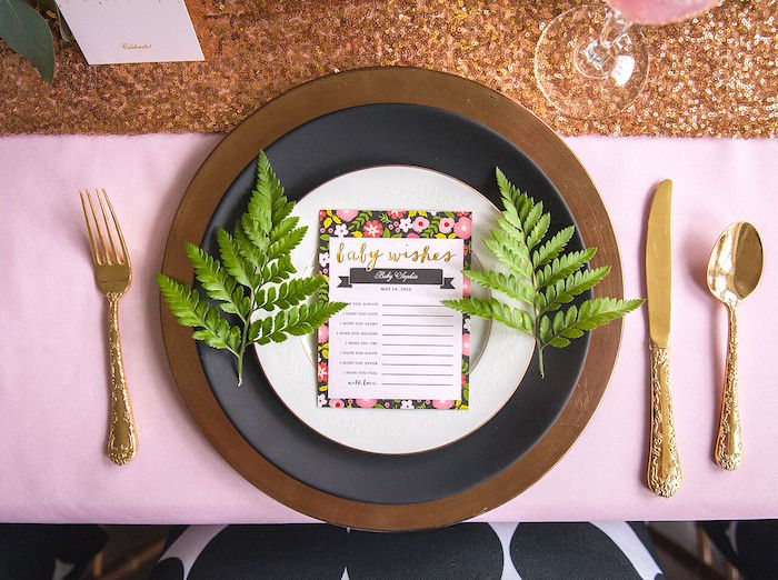 Place Setting from a Geometric Floral Baby Shower via Kara's Party Ideas | KarasPartyIdeas.com - The Place for All Things Party! (14)