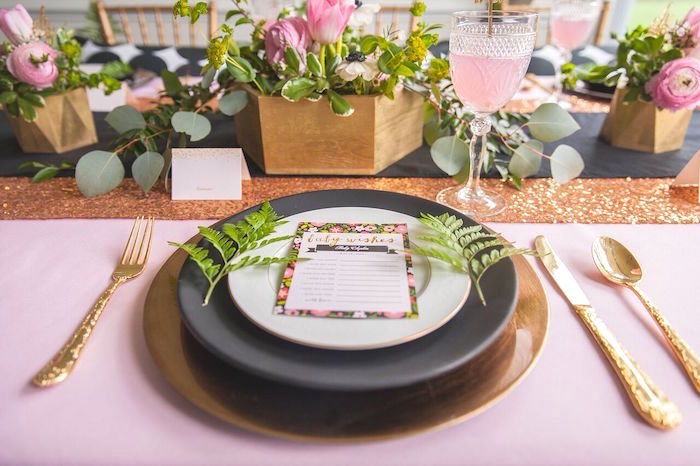 Place Setting from a Geometric Floral Baby Shower via Kara's Party Ideas | KarasPartyIdeas.com - The Place for All Things Party! (13)