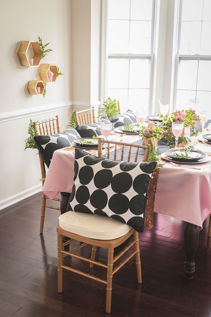 Gold Chivari Chair + Dining Table Details from a Geometric Floral Baby Shower via Kara's Party Ideas | KarasPartyIdeas.com - The Place for All Things Party! (8)