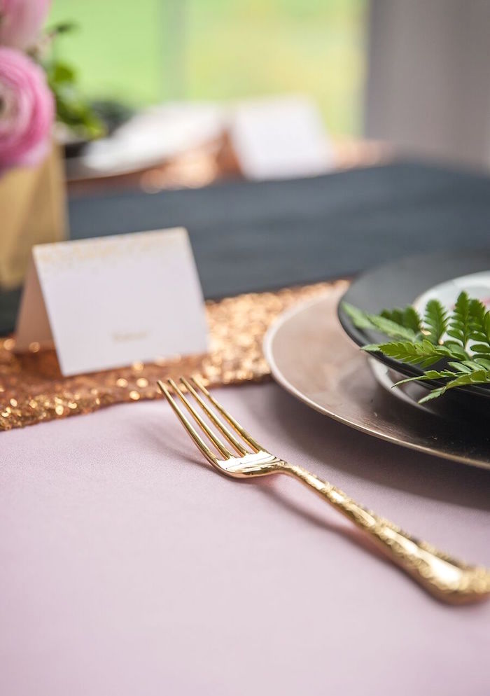 Gold Cutlery from a Geometric Floral Baby Shower via Kara's Party Ideas | KarasPartyIdeas.com - The Place for All Things Party! (7)