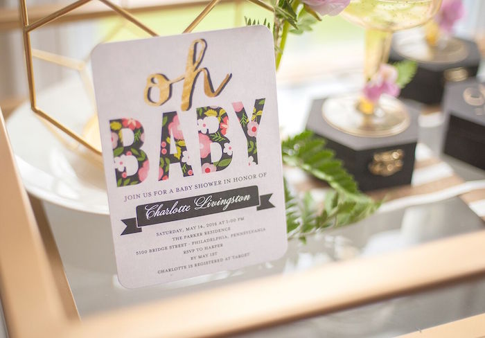 Invitation from a Geometric Floral Baby Shower via Kara's Party Ideas | KarasPartyIdeas.com - The Place for All Things Party! (3)