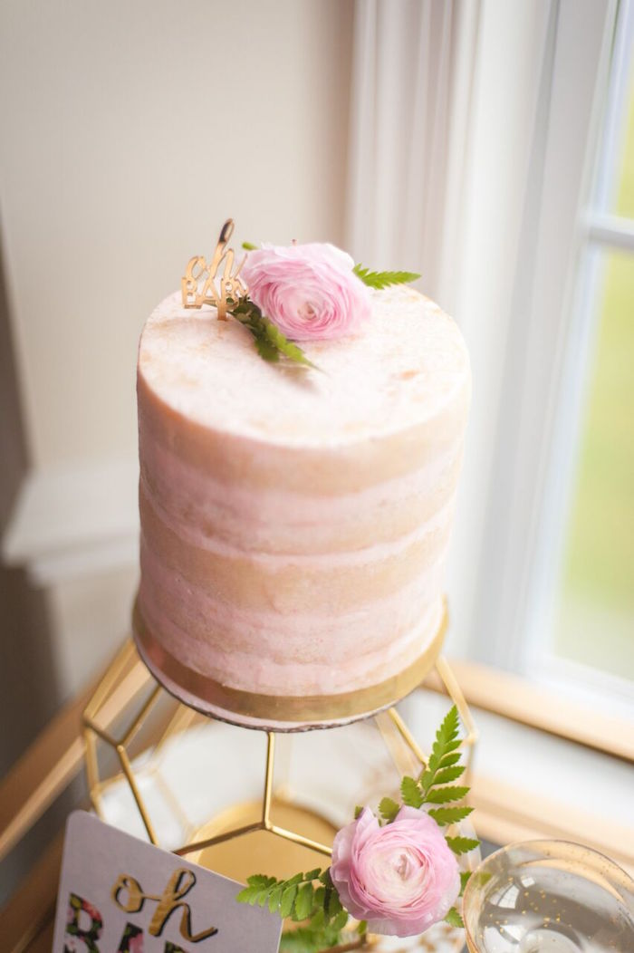 Blush Colored Naked Cake from a Geometric Floral Baby Shower via Kara's Party Ideas | KarasPartyIdeas.com - The Place for All Things Party! (40)
