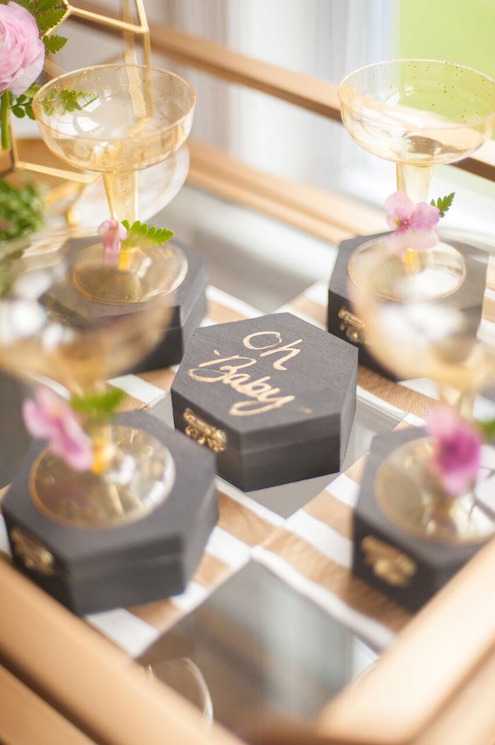 Black Matte Boxes + Gold Cups from a Geometric Floral Baby Shower via Kara's Party Ideas | KarasPartyIdeas.com - The Place for All Things Party! (39)