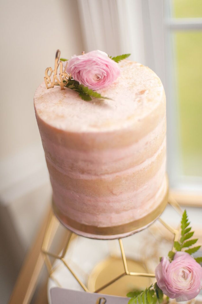 Blush Colored Naked Cake from a Geometric Floral Baby Shower via Kara's Party Ideas | KarasPartyIdeas.com - The Place for All Things Party! (38)