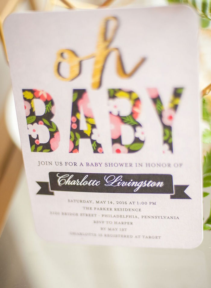 Invitation from a Geometric Floral Baby Shower via Kara's Party Ideas | KarasPartyIdeas.com - The Place for All Things Party! (37)