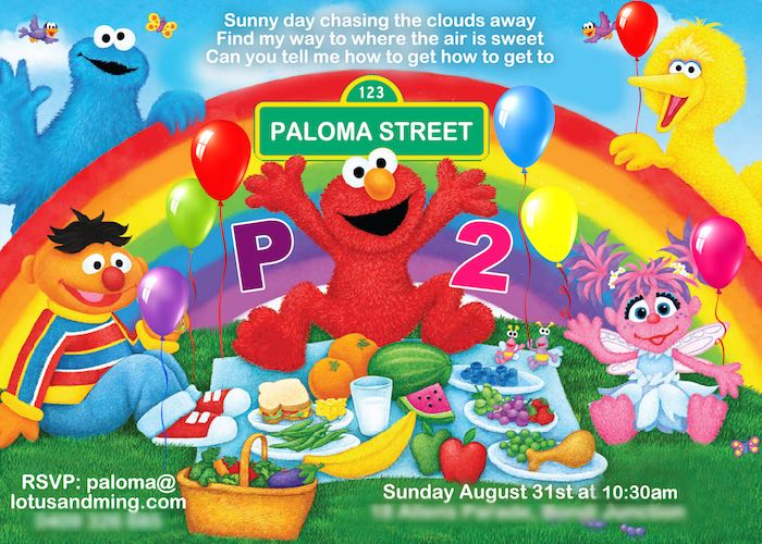 Invitation From A Girly Sesame Street Party Via Karas Ideas KarasPartyIdeas