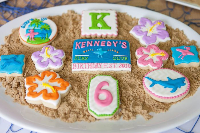 Custom Sugar Cookies from a Girly Surfing Party via Kara's Party Ideas | The Place for All Things Party! KarasPartyIdeas.com (48)