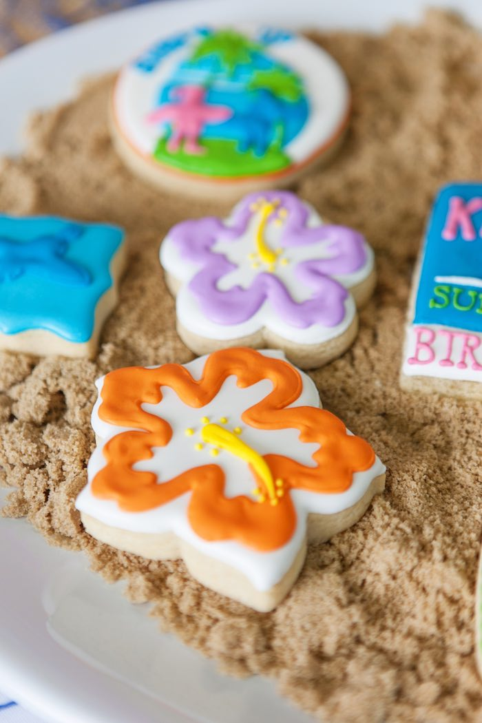 Flower Cookies from a Girly Surfing Party via Kara's Party Ideas | The Place for All Things Party! KarasPartyIdeas.com (46)