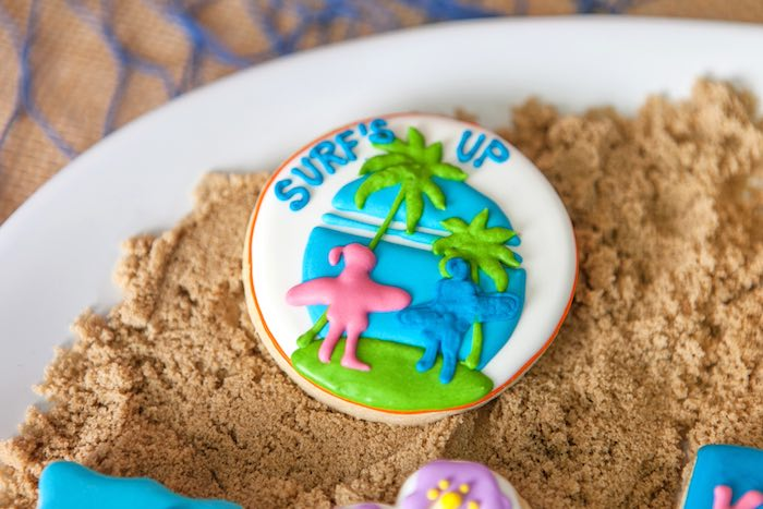 """Surf's Up"" Custom Cookie from a Girly Surfing Party via Kara's Party Ideas 