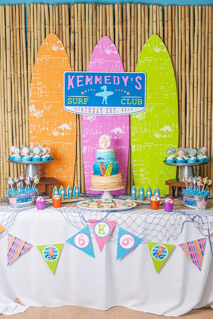 Dessert Table from a Girly Surfing Party via Kara's Party Ideas | The Place for All Things Party! KarasPartyIdeas.com (44)