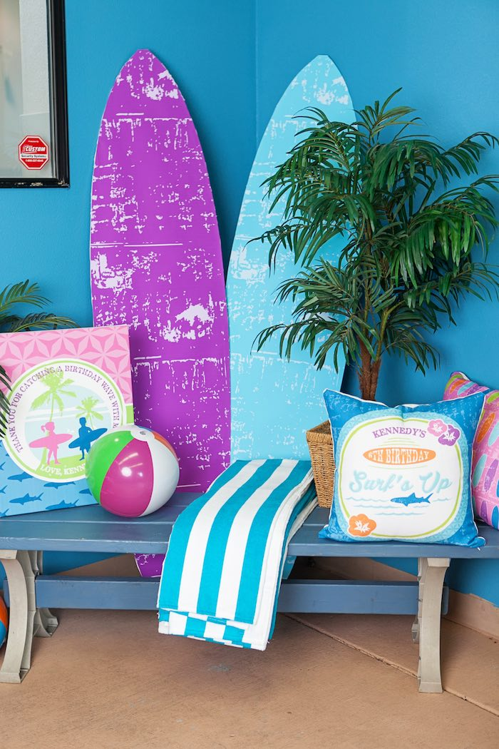Lounge Area from a Girly Surfing Party via Kara's Party Ideas | The Place for All Things Party! KarasPartyIdeas.com (39)