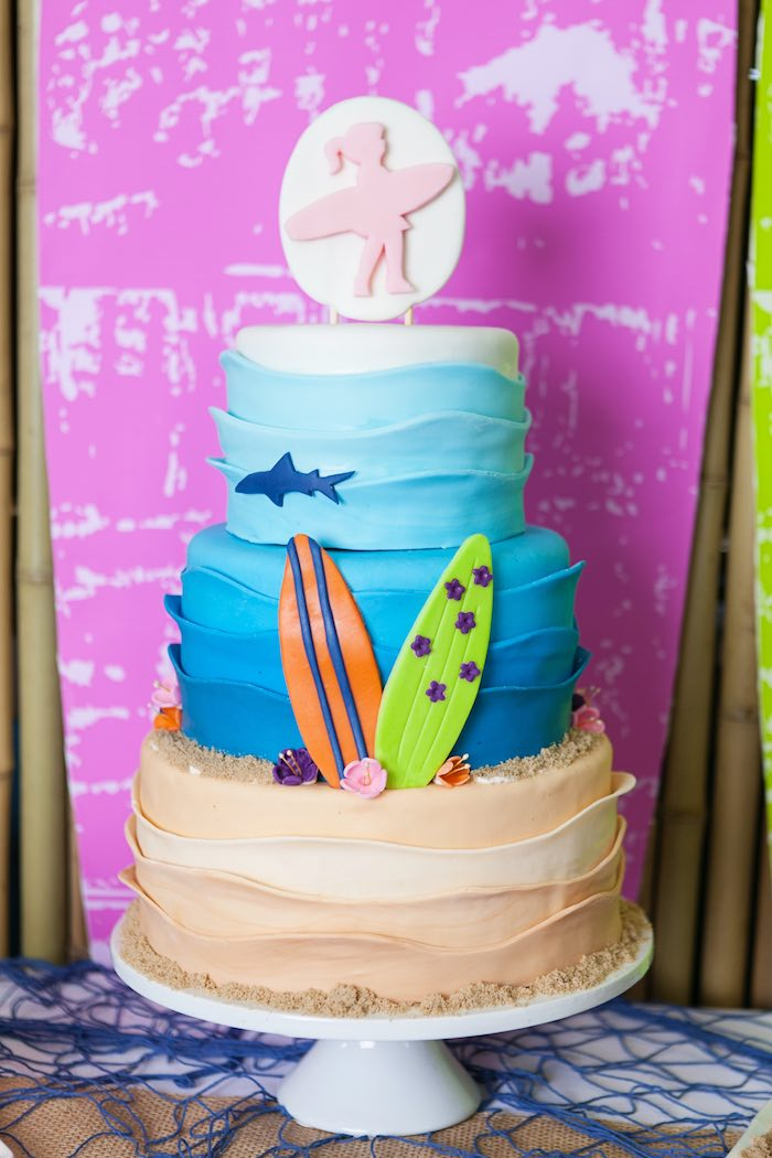 Cake from a Girly Surfing Party via Kara's Party Ideas | The Place for All Things Party! KarasPartyIdeas.com (57)