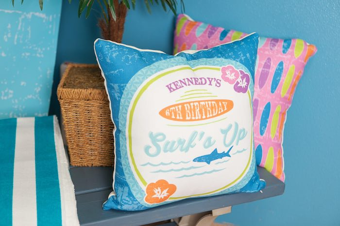 Custom Pillows from a Girly Surfing Party via Kara's Party Ideas | The Place for All Things Party! KarasPartyIdeas.com (38)