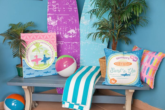 Lounge Area from a Girly Surfing Party via Kara's Party Ideas | The Place for All Things Party! KarasPartyIdeas.com (36)