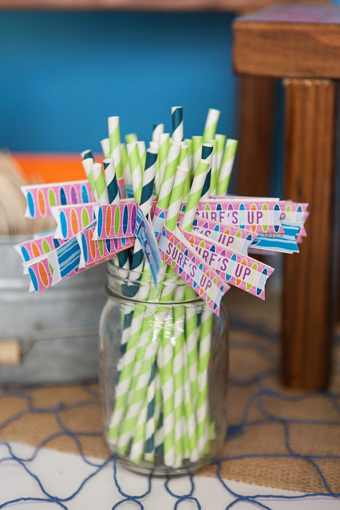 Straws from a Girly Surfing Party via Kara's Party Ideas | The Place for All Things Party! KarasPartyIdeas.com (33)