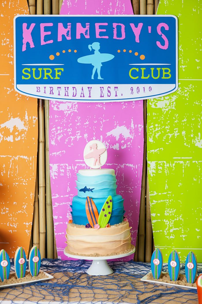 Cake from a Girly Surfing Party via Kara's Party Ideas | The Place for All Things Party! KarasPartyIdeas.com (56)