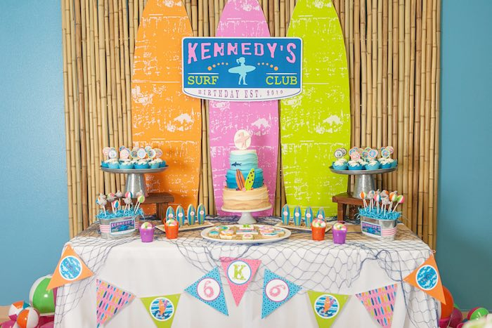 Sweet Table from a Girly Surfing Party via Kara's Party Ideas | The Place for All Things Party! KarasPartyIdeas.com (23)
