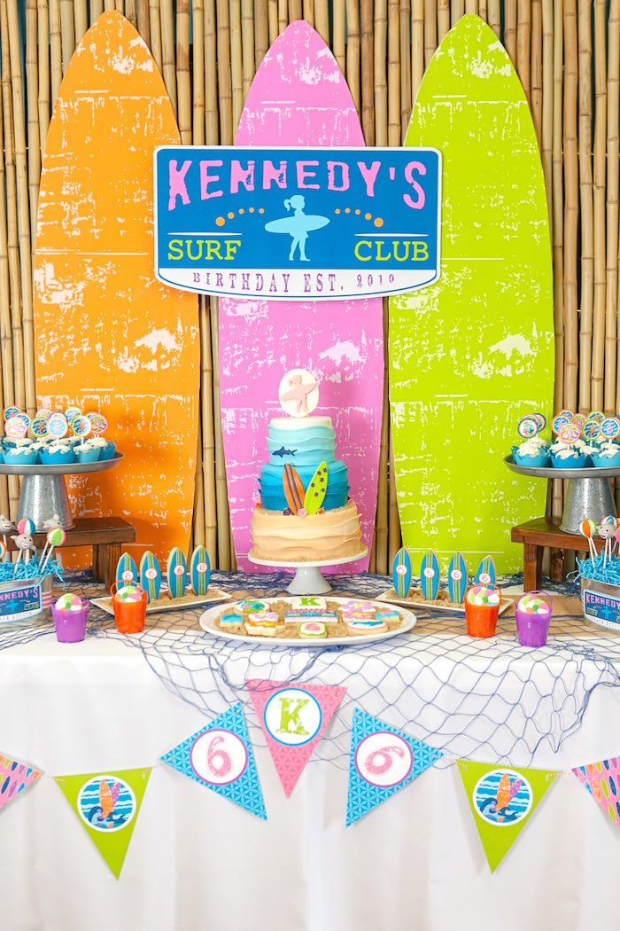 Sweet Table from a Girly Surfing Party via Kara's Party Ideas | The Place for All Things Party! KarasPartyIdeas.com (22)