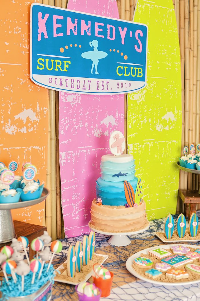 Sweet Table Details from a Girly Surfing Party via Kara's Party Ideas | The Place for All Things Party! KarasPartyIdeas.com (16)