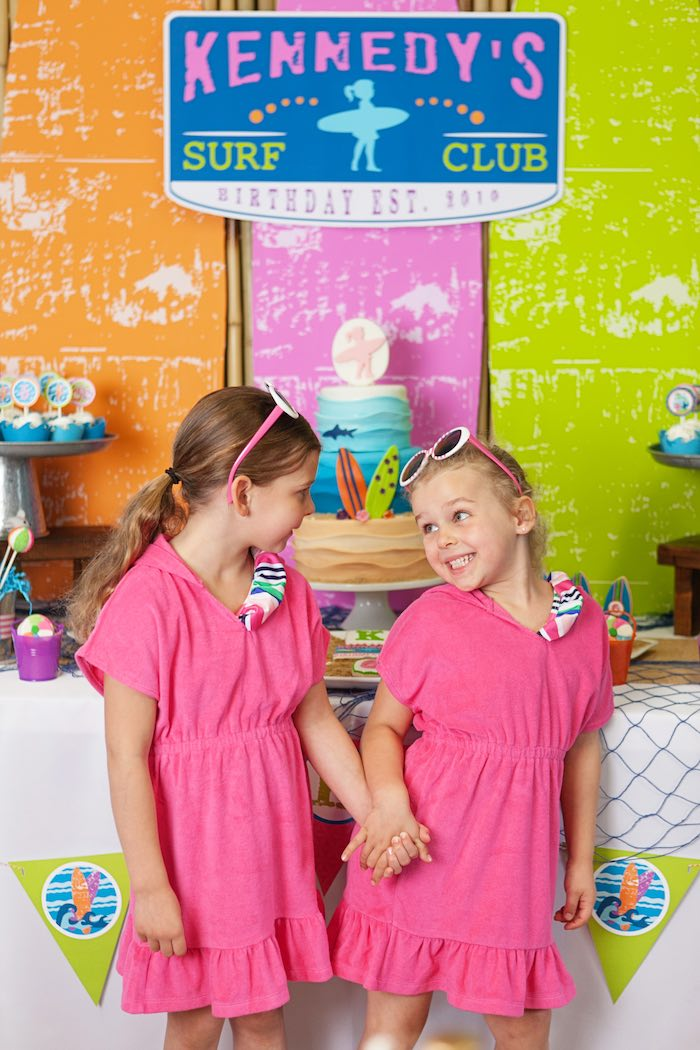 Little Girls from a Girly Surfing Party via Kara's Party Ideas | The Place for All Things Party! KarasPartyIdeas.com (14)