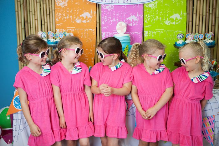 Party Girls in Matching Pink Swimsuit Covers from a Girly Surfing Party via Kara's Party Ideas | The Place for All Things Party! KarasPartyIdeas.com (11)