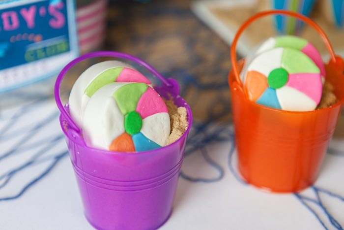 Beach Ball Oreos placed in Mini Plastic Beach Pails from a Girly Surfing Party via Kara's Party Ideas | The Place for All Things Party! KarasPartyIdeas.com (54)