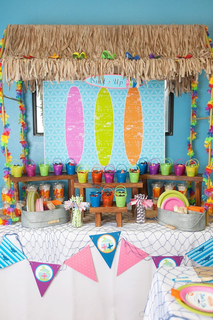 Food Table from a Girly Surfing Party via Kara's Party Ideas | The Place for All Things Party! KarasPartyIdeas.com (6)