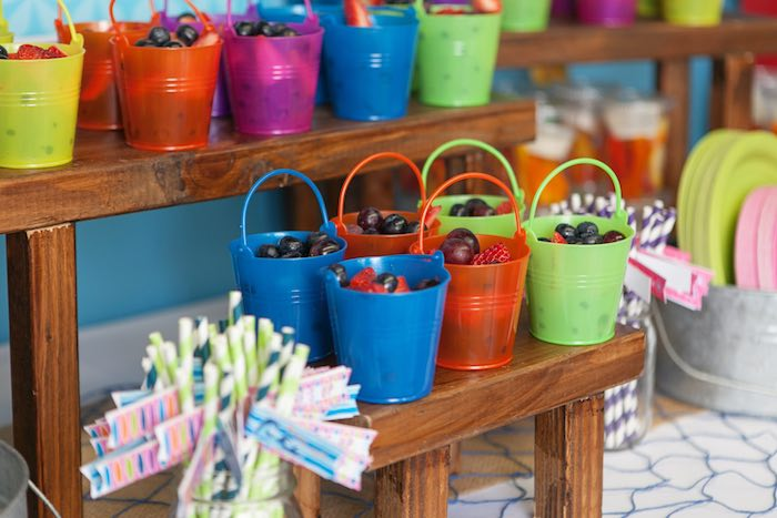 Mini Beach Pails full of Fresh Fruit from a Girly Surfing Party via Kara's Party Ideas | The Place for All Things Party! KarasPartyIdeas.com (4)