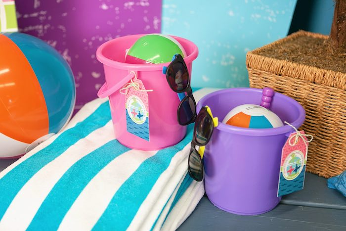 Favor Buckets from a Girly Surfing Party via Kara's Party Ideas | The Place for All Things Party! KarasPartyIdeas.com (3)