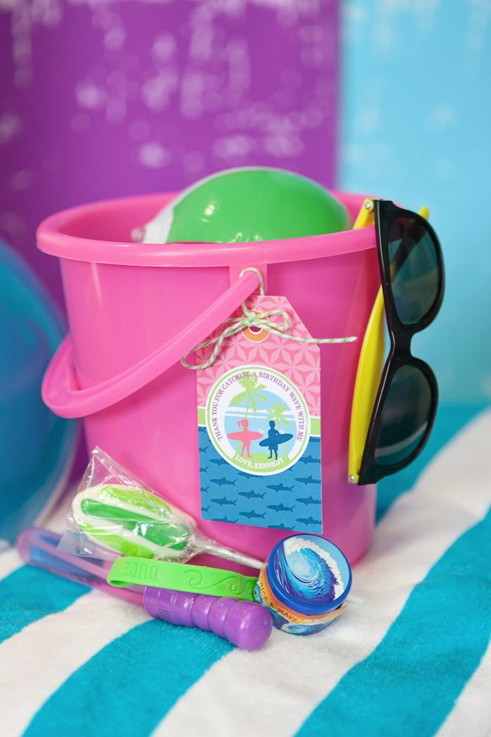 Favor Bucket from a Girly Surfing Party via Kara's Party Ideas | The Place for All Things Party! KarasPartyIdeas.com (2)